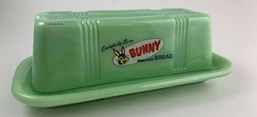 Jadeite Bunny Bread Lidded Butter Dish - Vintage Look w/Green Glass