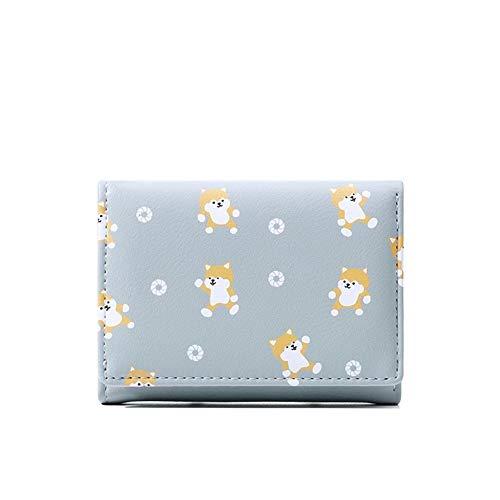 NOLOGO Wallet Doka Studenten Fashion Folding Short Wallet-Karikatur-Nette Dame Coin Pocket (Color : Blue)