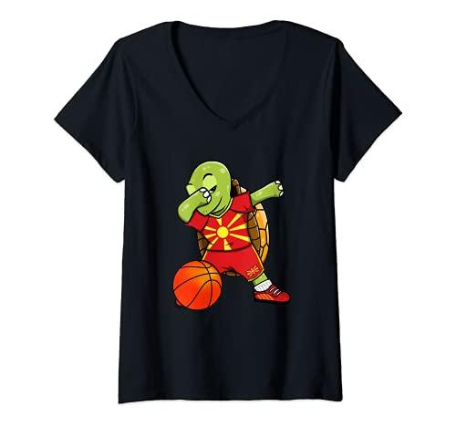 Mujer Dabbing Turtle Macedonia Jersey Macedonia Fans de baloncesto Camiseta Cuello V