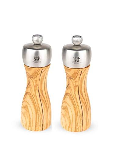 Peugeot FIDJI Pfeffermühle + Salzmühle 15 cm aus Olivenholz 2er Set + Edelstahlstyling Universalmesser