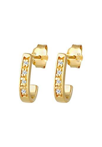 DIAMORE Ohrringe Damen Ohrstecker Elegant Klassisch mit Diamant Creolen (0.08 ct.) in 585 Gelbgold