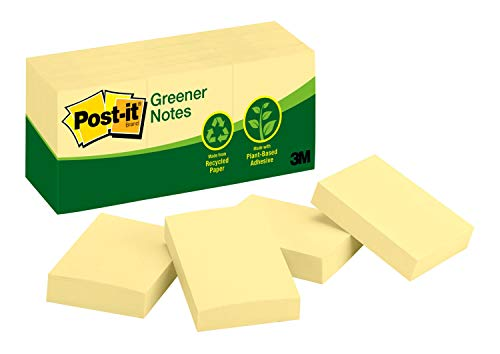 Post-it® Notes, Original Pad, 1-3/8 inches x 1-7/8 inches, Recycled, Canary Yellow, 12 Pads per Pack