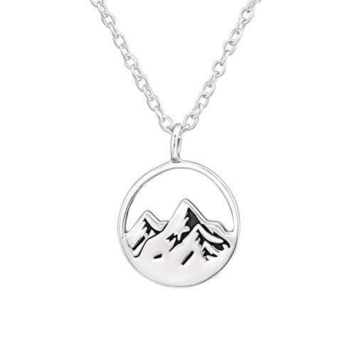 Monkimau Mädchen Kette Berg Panorama Anhänger aus 925 Sterling Silver echt Silber mit 45cm