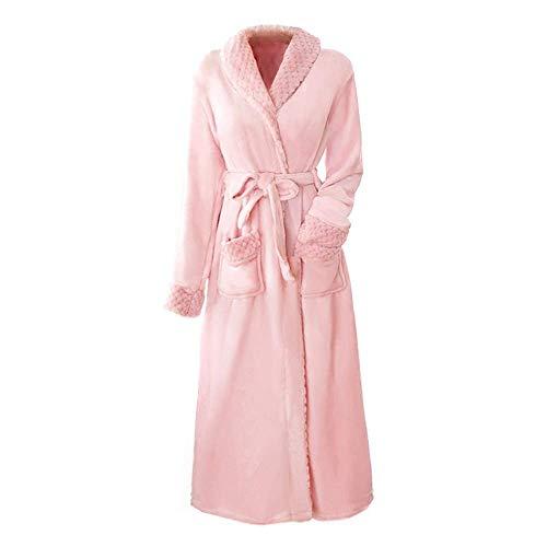 Tokyia Mantener caliente Invierno largo ocasional Albornoz vestido elegante de las mujeres del traje del kimono del vestido de franela Mantener caliente ropa de dormir ropa de dormir suave Homewear, M