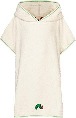 Smithy® Kinder-Badeponcho aus Baumwollfrottee – Schadstofffrei und GOTS zertifizierter Baby Badeponcho – weiß mit Raupe Nimmersatt