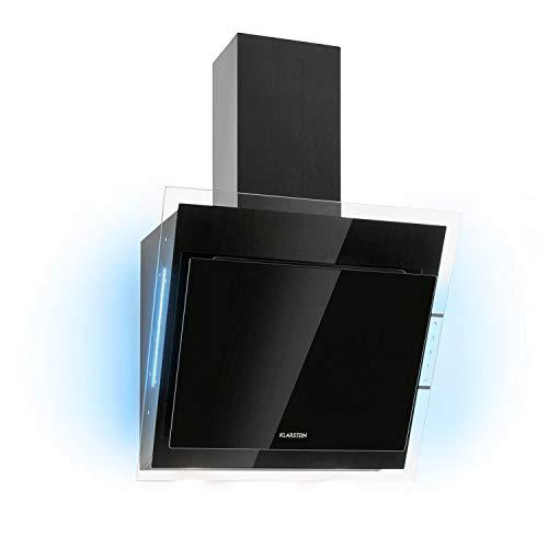 KlarsteinMirage - Campana extractora, Vidrio de seguridad, 3 niveles depotencia, Extracción de salida 550 m³/h, LED multicolor, Eco-Excelencia, Juego de montaje completo, 60 x 50 x 32 cm, Carbón