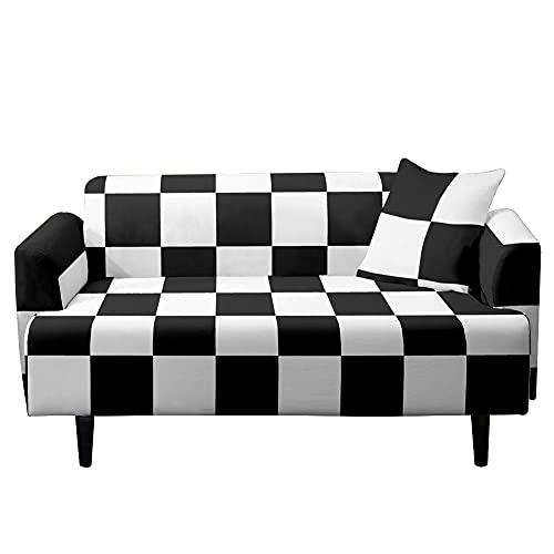 Highdi Tartán Funda de Sofá Elástica, Fundas para Sofá de 1/2/3/4 Plazas, Universal Funda Cubre Sofas Ajustables Protector Cubierta de Muebles (Blanco Negro,1 plazas)