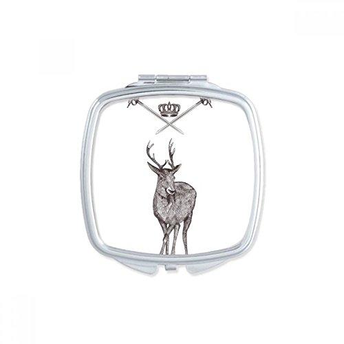 DIYthinker Elk Zwaard Kroon Dier Zwart Wit Barok Stijl Vierkant Compact Make-up Pocket Spiegel Draagbare Leuke Kleine Hand Spiegels Gift