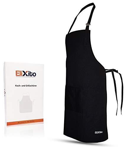 EliXito® Premium Kochschürze/Grillschürze 100% Baumwolle inkl. Geschenk Box - Extra Belastbar & Pflegeleicht - Auch Perfekt als Küchenschürze und Backschürze schwarz