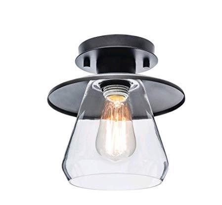 Preisvergleich Produktbild Lightsjoy Industrielle Deckenleuchte Retro Vintage Deckenleuchte Runde Glas E27 Lampenschirm Deckenstrahler Schwarz 1-flammig Kronleuchter Innenbeleuchtung Wohnzimmerlampe / Schlafzimmer / Küche / Loft usw.