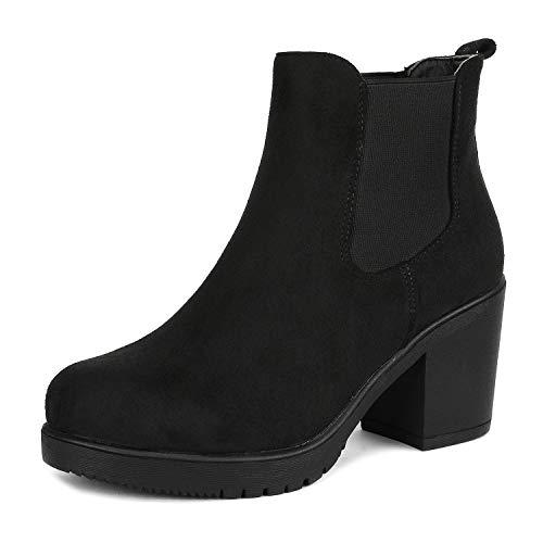 DREAM PAIRS FRE Damen Stiefeletten mit Blockabsatz Chelsea Stiefel Schwarz Größe 11 US / 42 EU