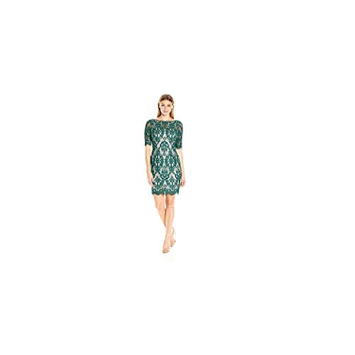 Eliza J Women's Lace Shift Dress with 3/4 Sleeves, Green, 8