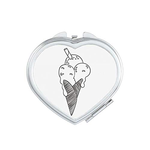 DIYthinker zwarte contour sesam koekjes ijs hart compacte make-up spiegel draagbare schattige hand zak spiegels cadeau