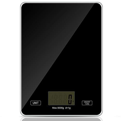 Redmoo Balanza Cocina, 5kg / 11 lbs Bascula Precision 1g, Peso Cocina Digital con Pantalla LCD Ideal para Pesar Alimentos de Recetas (Negro)