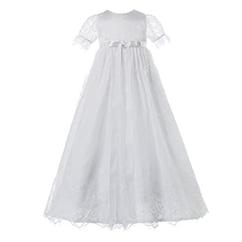 NIMBLE Baby Girls Baptism Christening Elegant Meshed Lace Gown for 0-12 Months White