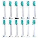 case & glass 12 cabezales recambios para cepillos compatibles con los mangos de cepillos de dientes eléctricos philips sonicare. substituto para el hx6013, hx6014 y otros. (3 kits x 4 cabezales)
