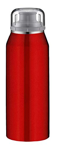 alfi Thermosflasche 350ml, isoBottle, Trinkflasche kohlensäurefest, Isolierflasche Edelstahl Pure rot auslaufsicher, Wasserflasche 5677.290.035, Thermoskanne 12 Stunden heiß, 24 Stunden kalt, BPA Frei