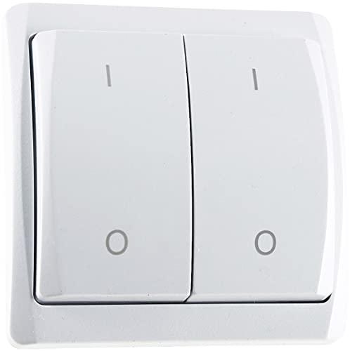 Funk Wandschalter Funk-Taster 2-Kanal Funk-Lichtschalter max. 70m Reichweite 433,92MHz Pilota Casa Funk-Wandsender für Lampen Leuchten LED geeignet Weiß