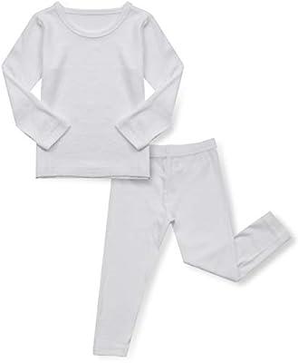 AVAUMA Baby Boy Girl Long Sleeve Ribbed Pajamas Set Snug-Fit Fall Winter Pjs Sleepwear Kids Toddler (S/White)