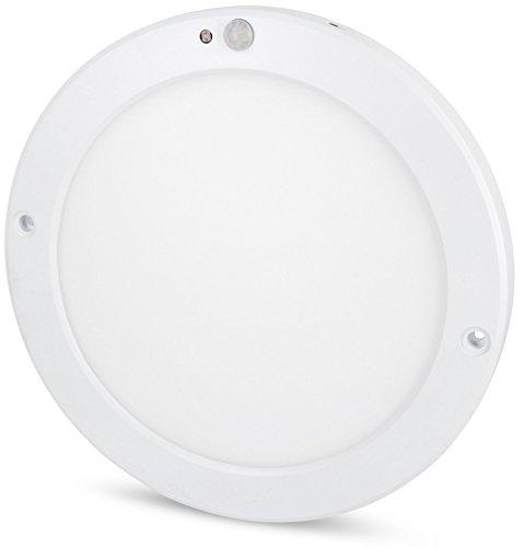 Ultraslim LED Sensor 18W Panel Deckenleuchte - mit Bewegungsmelder + Dämmerungssensor - eingebauter LED Trafo - (warmweiß (3000 K))