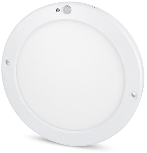 Panel de techo con sensor LED ultrafino de 18 W, con detector de movimiento y sensor crepuscular, transformador LED integrado (blanco diurno (4000 K))