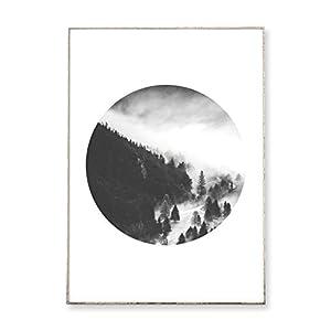 DIN A3 Kunstdruck Poster PEAK °3 -ungerahmt- Berg, Tannen, Wald, Nebel, Gebirge, geometrisch, Kreis, skandinavisch…