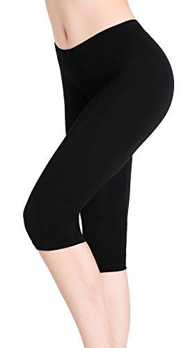 CnlanRow Damen Kurz Hose 3/4 Leggins Stretch Leicht Schwarz Shorts Yoga Leggings Sommer