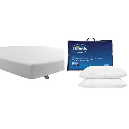 Silentnight Comfortable Foam Rolled Mattress - Double with Egyptian Cotton Pillow Pair