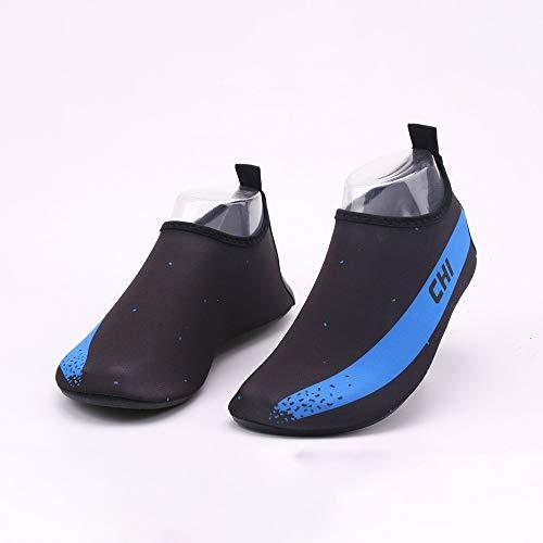 Hancoc Zapatos de playa Negro + Azul Patrón Hombres Y Mujeres Zapatos De Playa Ultra Ligeros Zapatos De Buceo Zapatos De Buceo Antideslizantes Zapatos De Natación Antideslizantes Pies Descalzos Zapato