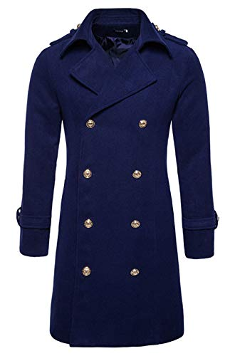 chouyatou Men's Button Front Double Breasted Mid-Long Wool Pea Coat (X-Large, Navy Blue)