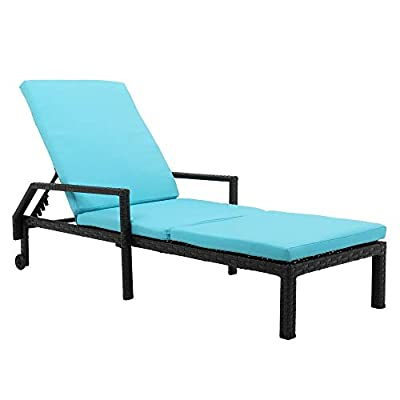 Patio Rattan Chaise Lounge Chair with Wheel, Ou...