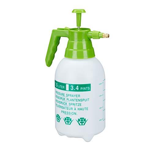 Relaxdays, weiß/grün Drucksprüher, 1,5 Liter, einstellbare Messingdüse, Garten, Bewässerung, Schädlingsbekämpfung, PE
