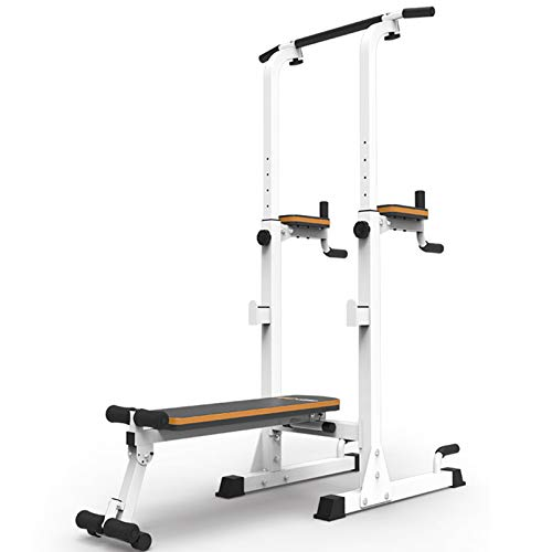 NENGGE Power Tower with Bench Press Adjustable Multi-Function for Dip Stand Pull Up Chin Up Home Strength Training Gym Equipment Power Rack, Support Up to 350KG