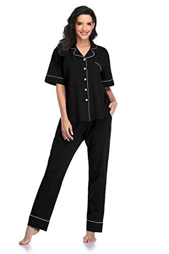 SHEKINI Pijamas Mujer de Algodón Cómodos Top de Pijama y Pantalón con Camisa Abotonada Pijama de Dos Piezas Cómodos Ropa de Dormir Loungewear de Verano de Manga Corta
