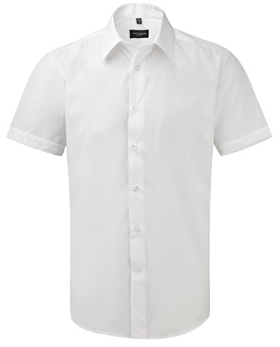 Russell Collection Men's Tailored Poplin Short Sleeve Shirt White M