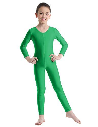 Freebily Bodies Jumpsuit para Danza Ballet Fitness Leotardo Monos Elásticas Deporte Gimnasia Ritmica Traje Una Pieza de Manga Larga Verano Niñas Niños 5-12 Años Verde 10-12 Años