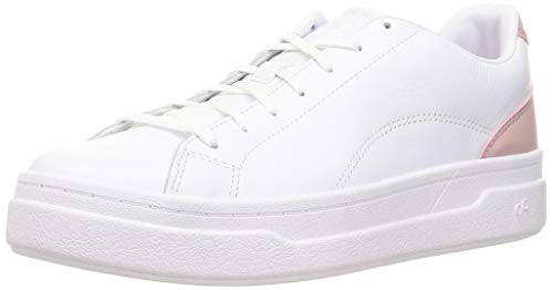 CARE OF by PUMA Damen Leather Platform Court Low-Top Sneakers, Weiß, Weiß, Rosa, 41 EU