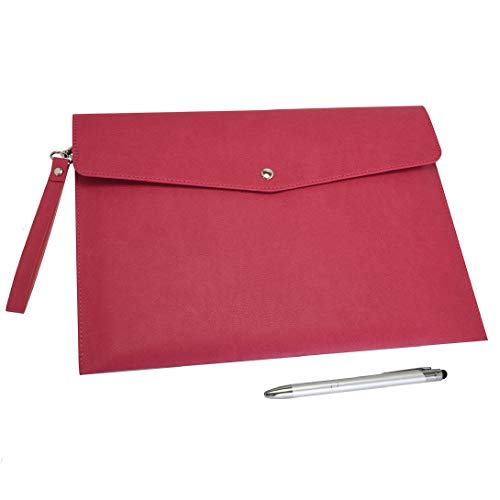 Wonderpool A4 PU cuero sobre documentos multifunción carpetas papelería bolsa - Archivo de cartera para organizador de cartas de papel y funda para tablet PC (Rojo ciruela)