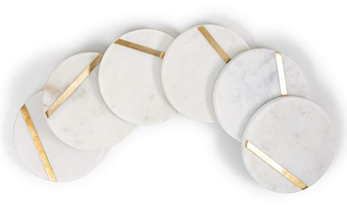 """Cork & Mill Marble Coasters for Drinks - Set of 6 Handcrafted Modern Coasters - 4"""" Wide Drink Coasters - White Marble Coasters with Gold Brass Inlay - Made from Real Solid Marble"""