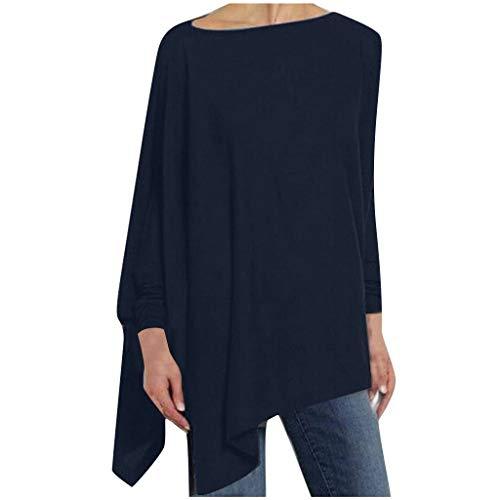 iHENGH Womens Solid Long Sleeve Irregular Sweatshirt Loose Print Pullover Tops Blouse(Blau, S)