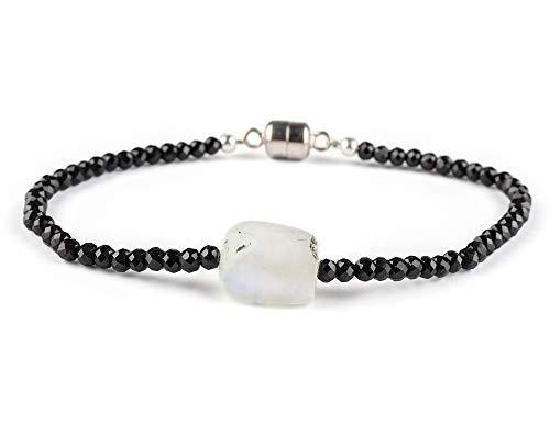 Zwarte Spinel & Maansteen Armband in 925 sterling zilveren ketting 7