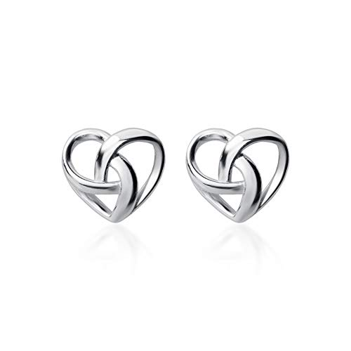 Gifts for Mom Sterling Silver Good Luck Irish Celtic Knot Stud Earrings Love Knot studs for Women (Celtic knot heart shape stud earrings)