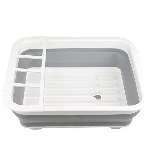 Escurreplatos plegable de silicona Qian Ya - Escurreplatos portátil, color blanco - Escurreplatos de mostrador o secador de utensilios