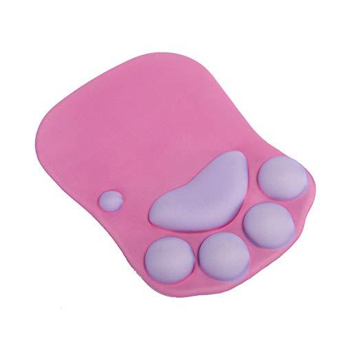 PPuujia Alfombrilla de ratón con soporte para muñeca de dibujos animados, patas de gatos, de silicona suave, cojín de muñeca de descanso, comodidad para ratón, color 06