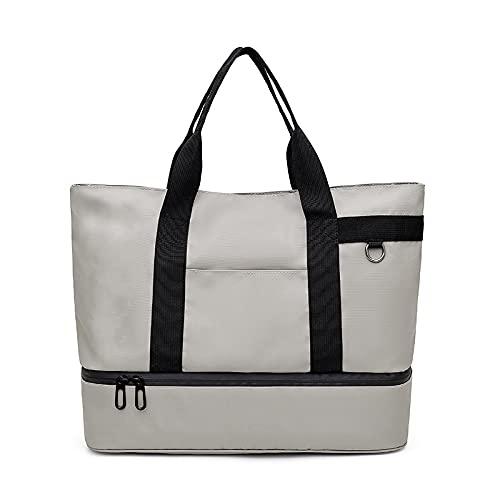 Bolsa de viaje de aislamiento de tela de nailon, bolsa de gimnasio portátil, paquete de hielo unisex de 26 pulgadas, gris claro
