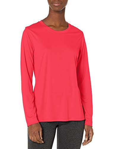 Hanes Women's Sport Cool Dri Performance Long Sleeve Tee, Razzle Pink, Large