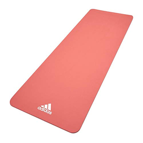 Adidas ADYG-10100PK Universal Exercise Roll Up Slip Resistant Fitness Pilates and Yoga Mat, 8mm Thick, Glow Pink