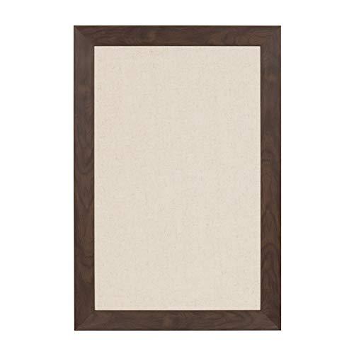 DesignOvation Beatrice Framed Linen Fabric Pinboard Bulletin Board 18x27 Walnut Brown
