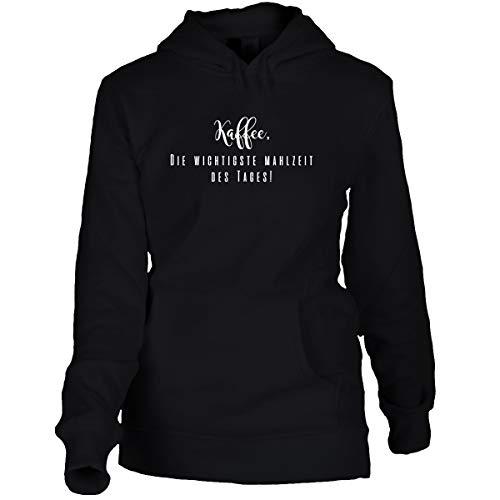 Shirtfun24 Damen Oversize Hoodie Kaffee: Die wichtigste Mahlzeit des Tages Statement Spruch Sprüche Hoodie schwarz, XL