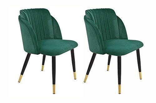 Silla de Comedor Glamour – Terciopelo Verde - Patas Negras con Detalle Dorado Elegante - (Pack de 2) - Sillón salón
